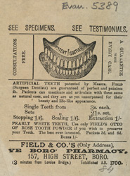 Advertisement for artificial teeth patented by Field & Co., surgeon dentists